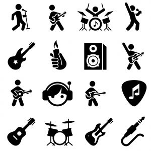 Rock music icons. Professional clip art for your print or Web project. See more icons in this series.