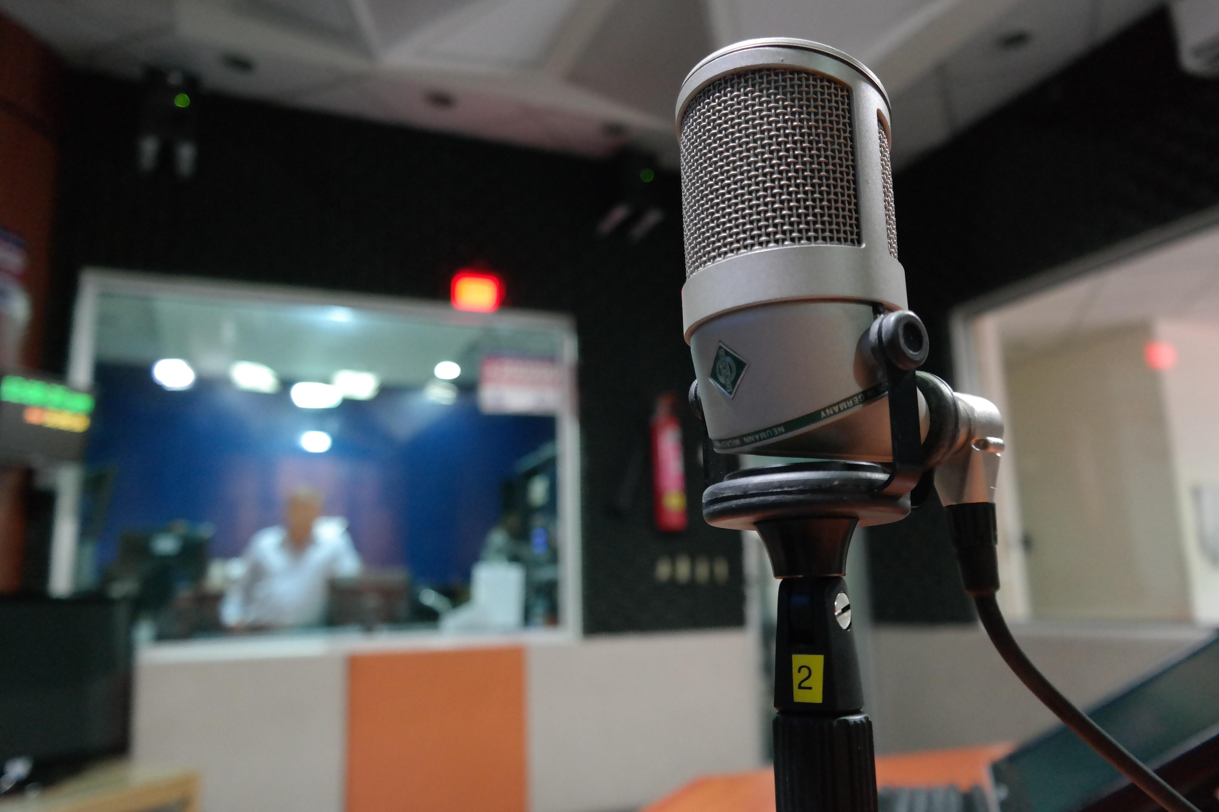 Mikrofon i et studio